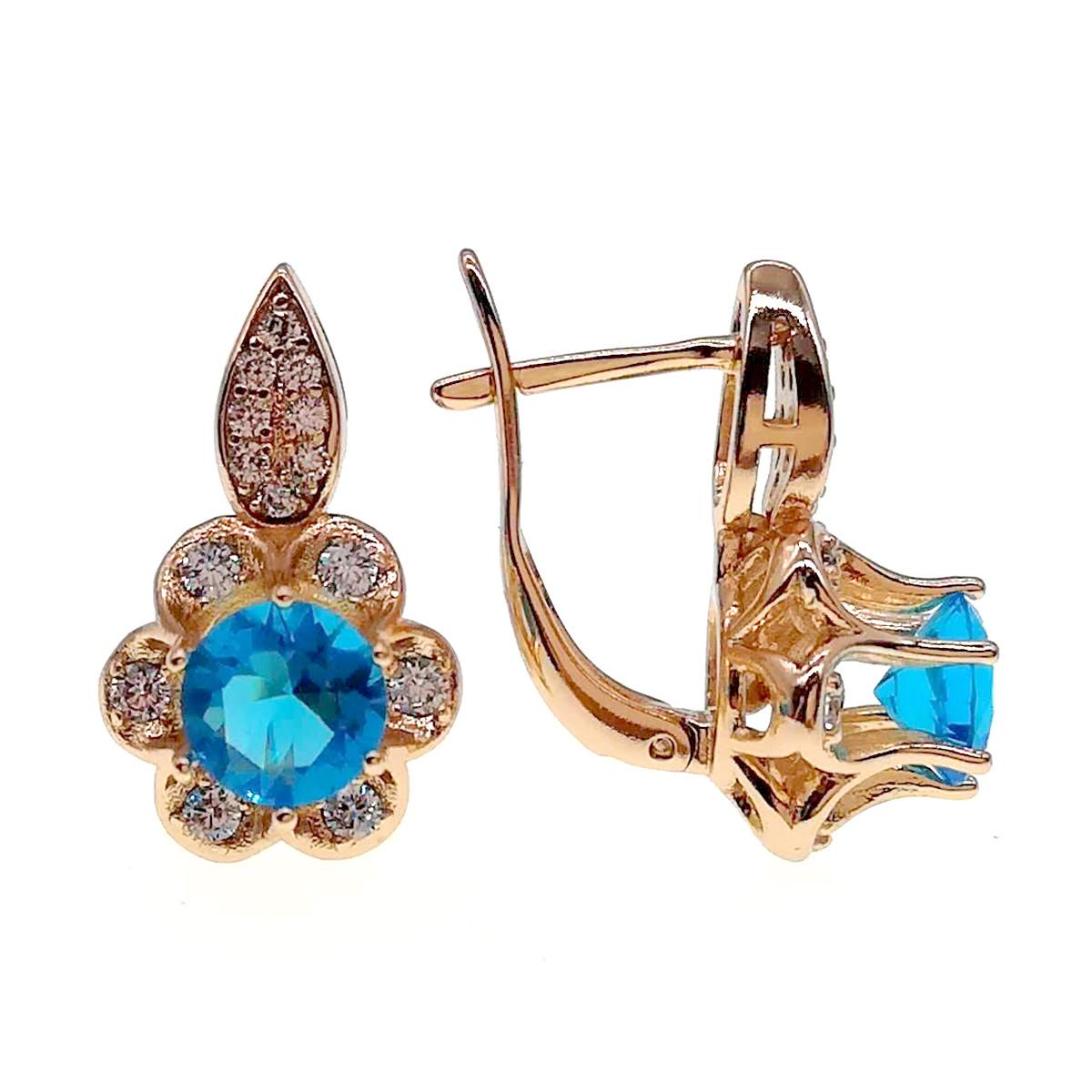 Серьги Xuping из медицинского золота, голубые и белые фианиты, позолота 18К, 24235       (1)