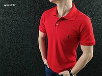 Футболка поло | красная тенниска логотип вышит | бирка, фото 1