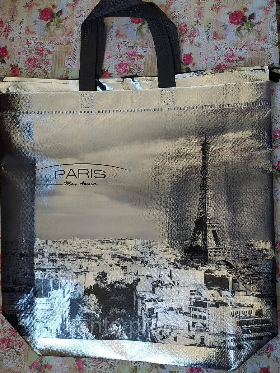 """Эко сумки BOX XXL. ламинация. СЕРЕБРО. """"Paris"""""""
