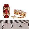 Сережки Xuping з медичного золота, червоні і білі фіаніти, позолота 18К + родій, 24246 (1), фото 3