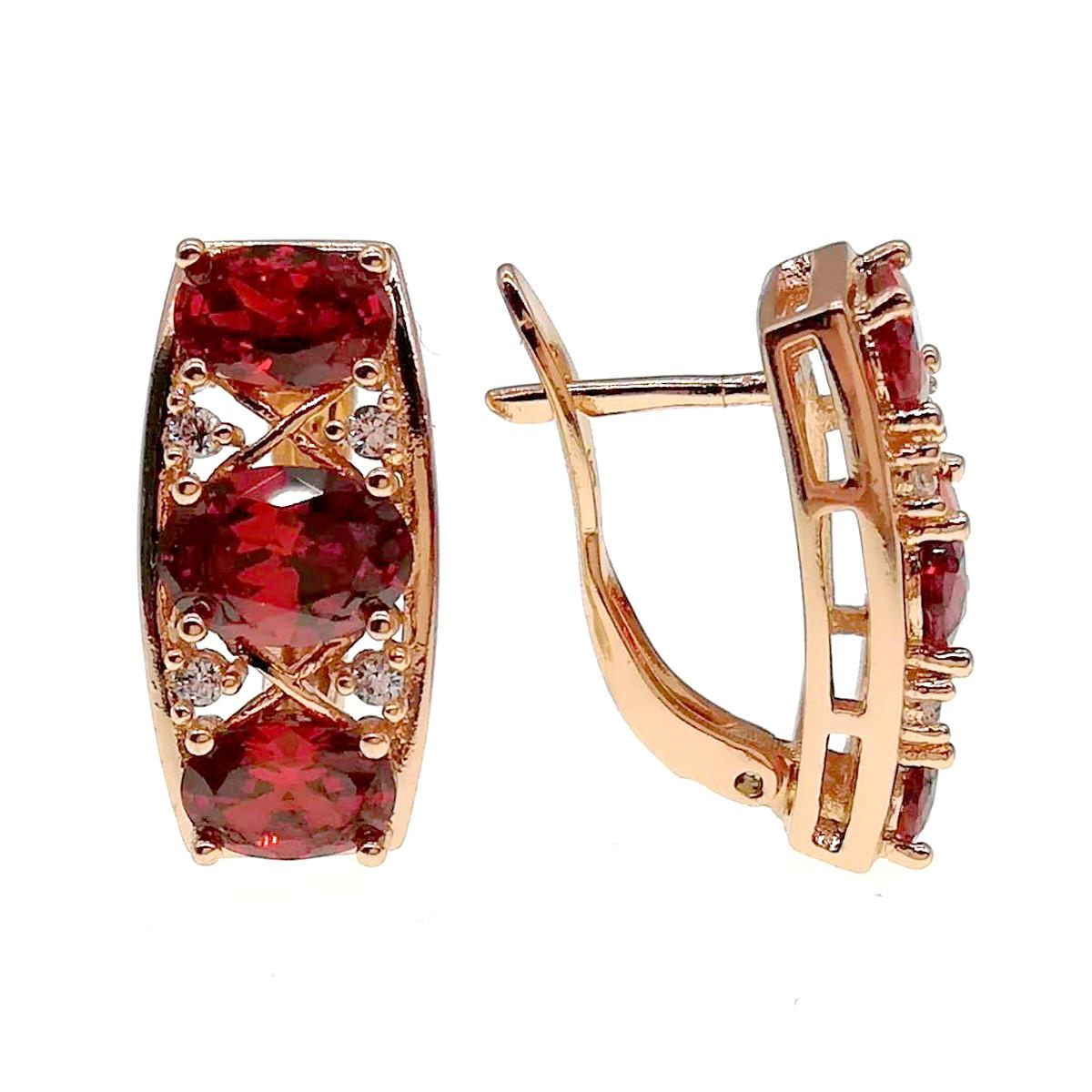 Сережки Xuping з медичного золота, червоні і білі фіаніти, позолота 18К + родій, 24246 (1)