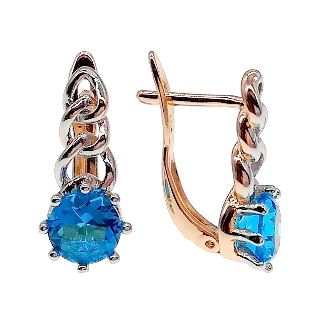 Серьги Xuping из медицинского золота, голубые фианиты, позолота 18К + родий, 24245       (1)