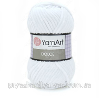 Плюшевая пряжа (100% микрополиэстер, 100г/120м) YarnArt Dolce 741(белый)