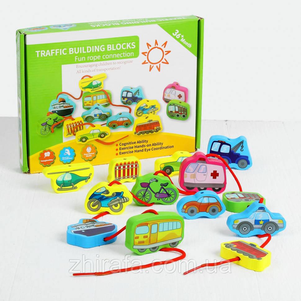 Деревянная игрушка Шнуровка MD 1263 (Транспорт)