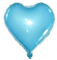Куля серце фольговані БЛАКИТНЕ - 13 см (5 дюймів)