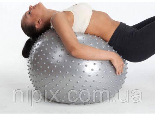Гимнастический мяч для фитнеса с шипами и насосом Фитбол 65 см