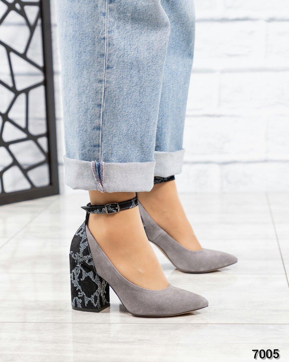 Туфли с ремешком серые женские замш. Размер 36