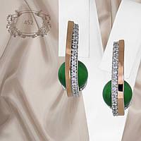 """Серьги серебряные с золотыми вставками и зелеными улекситами """"452"""""""