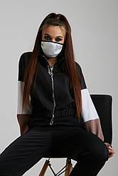 Многоразовая белая маска со стразами неопрен