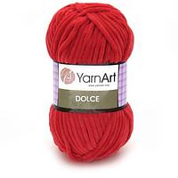 Плюшевая пряжа (100% микрополиэстер, 100г/120м) YarnArt Dolce 748(красный)
