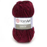 Плюшевая пряжа (100% микрополиэстер, 100г/120м) YarnArt Dolce 752(бордовый)