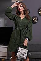 Модное красивое повседневное платье зима 2020 ц. зеленый р. S, M, L, XL