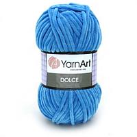 Плюшевая пряжа (100% микрополиэстер, 100г/120м) YarnArt Dolce 758(ярко-голубой)