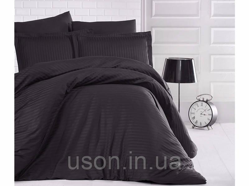 Комплект постельного белья Clasy Strip сатин однотонный Siyah