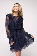 Красивое вечернее платье 2020  цвет: темно-синий, размер: 42-44(XS-S), 44-46(S-M), 46-48(M-L), 48-50(L-XL)
