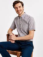 Белая мужская рубашка LC Waikiki / ЛС Вайкики с коротким рукавом, в бордово-графитовую клетку