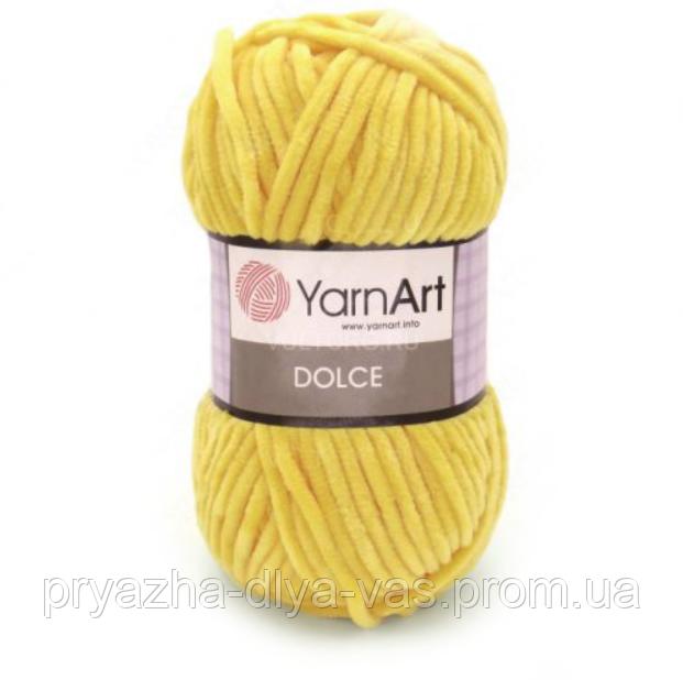 Плюшевая пряжа (100% микрополиэстер, 100г/120м) YarnArt Dolce 761(желтый)