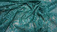 Ткань сетка с вышивкой (гипюр) зеленого цвета