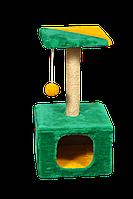 """Домик-когтеточка (дряпка) Мур-Мяу """"КотэДж"""" в джутовой веревке Зелено-желтый"""