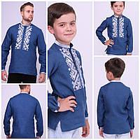 Вишиванка для хлопчика синій льон розміри в наявності