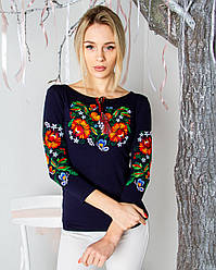 "Женская нарядная футболка - вышиванка "" Мазурка"" , рукав 3\4, р. 42,44,46,48,50,52-54, 56-58 тем-синяя"