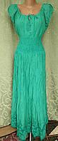 Платье  летнее, женское макси. Хлопок прошва. Индия. Зеленый (46-50) L р.