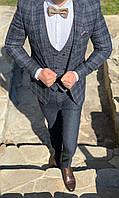 Молодежный костюм тройка серый в клетку