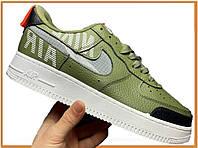 Мужские кроссовки Nike Air Force 1 Low Under Construction Olive White (низкие найк аир форс 1, хаки / белые)