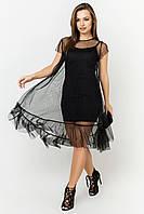 Двойное летнее платье из сетки цвет: черный, размер: 42, 44, 46, 48