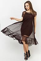 Двойное летнее платье из сетки цвет: коричневый, размер: 42, 44, 46, 48