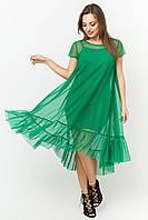 Двойное летнее платье из сетки цвет: зеленый, размер: 42, 44, 46, 48