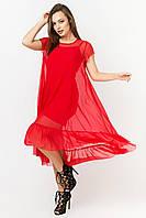 Двойное летнее платье из сетки цвет: красный, размер: 42, 44, 46, 48