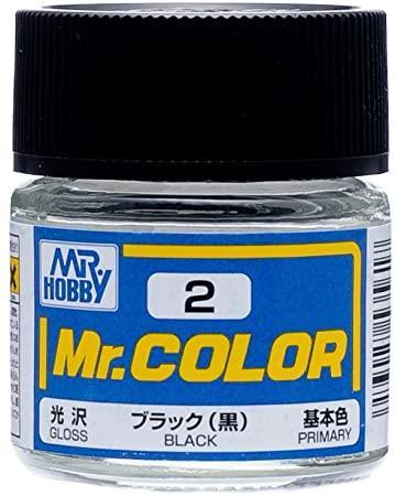 Черная глянцевая краска для сборных моделей. 10 мл. MR. COLOR C2