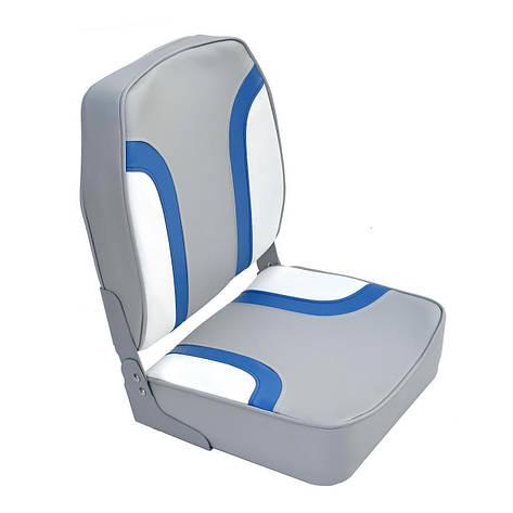 Сидіння для човна AquaL високу светлосерое/синьо-біле 1001003, фото 2