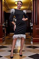 Модное красивое повседневное платье весна 2020 цвет: черный с белыми перьями, размер: S, M, L, XL