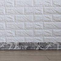 Самоклеящийся гибкий плинтус серый мрамор 240x8 см (толщина 7мм, плинтус самоклейка), фото 1