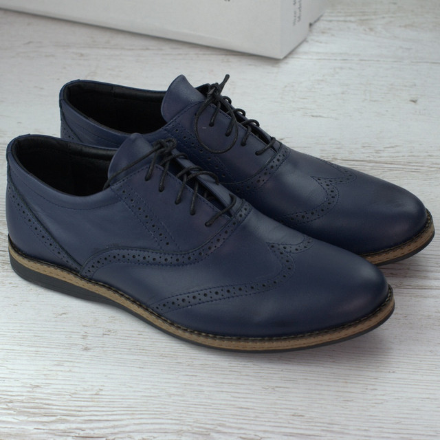 Синие туфли кожаные броги мужская обувь больших размеров Rosso Avangard СOMFORT Lether Blu BS