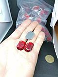 Стразы акриловые пришивные красного цвета. Стекло 18*25мм прямоугольное, фото 2