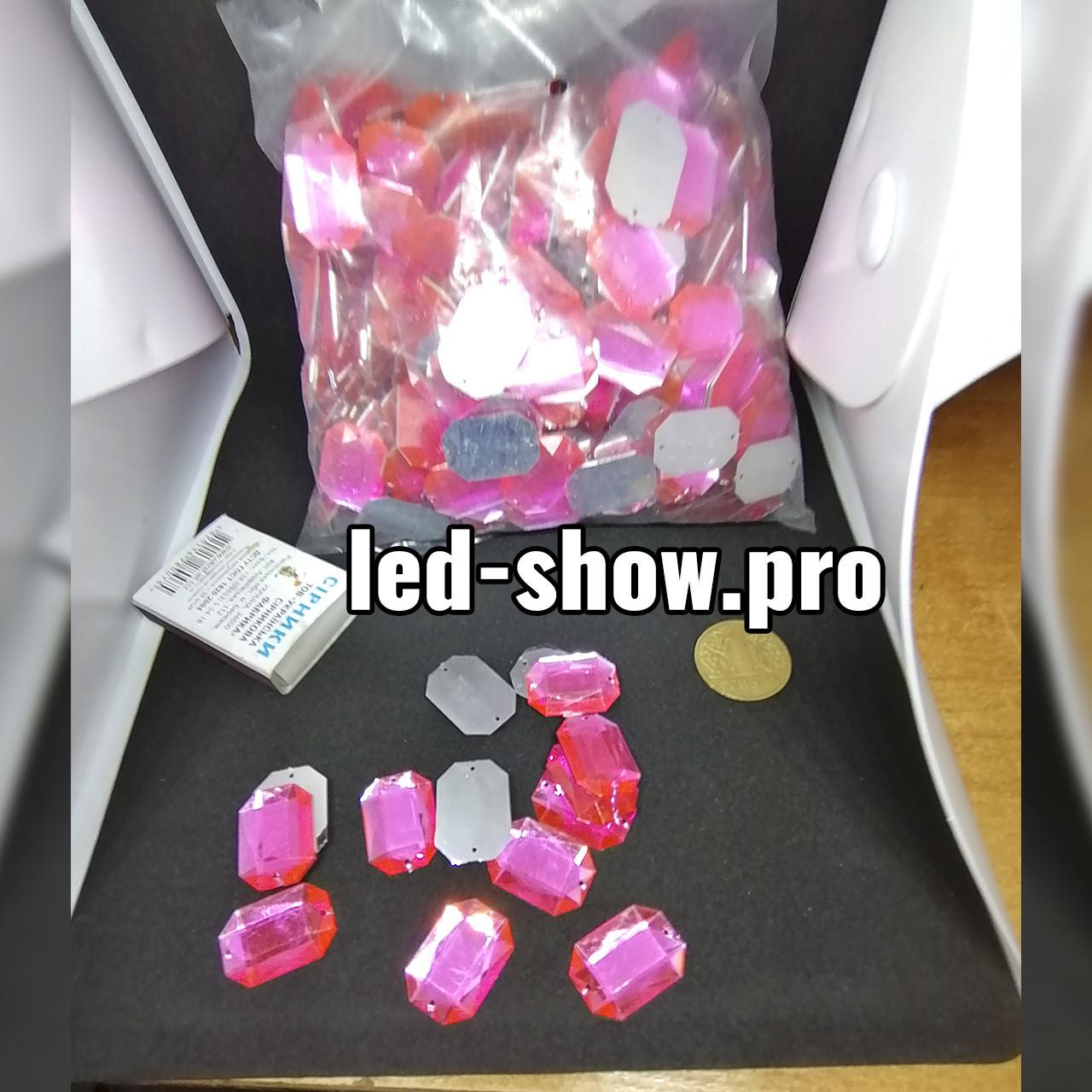 Стразы акриловые пришивные розового цвета. Стекло 18*25мм прямоугольное