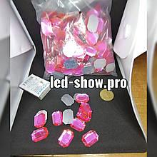Стрази акрилові пришивні рожевого кольору. Скло 18*25мм прямокутна