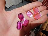 Стразы акриловые пришивные розового цвета. Стекло 18*25мм прямоугольное, фото 5