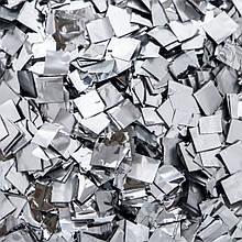 Конфетти серебро ПРЕМИУМ, метафан для серебристого шоу. Серебряное 20 на 20мм