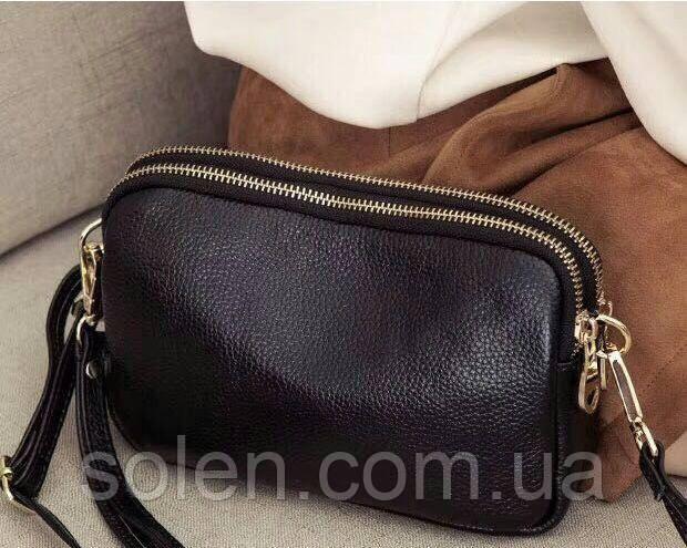 Сумка - клатч  из натуральной кожи.Маленькая кожаная сумочка. Клатч женский. клатч чёрный.