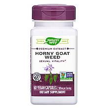 """Горянка Nature's Way """"Horny Goat Weed"""" для сексуального здоровья, 500 мг (60 капсул)"""