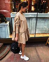 Женское коттоновое платье с оборкой и пуговицами на спине