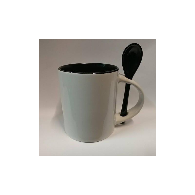 Чашка для сублимации цветная внутри с ложечкой 330 мл (чёрный)