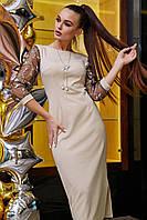 Модное красивое повседневное платье весна 2020 цвет: бежевый, размер: S, M, L, XL