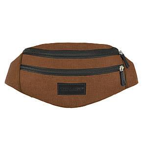Сумка на пояс Wallaby 2 отделения 32х12х8 ткань Оксфорд  цвет коричневый в 2906кор, фото 2