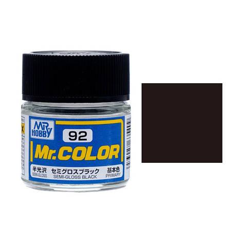Черная полуматовая краска для сборных моделей 10 мл. MR. COLOR C92, фото 2