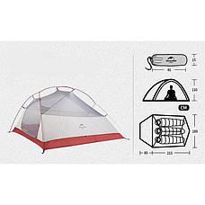 Двухслойная, сверхлегкая, 3-х местная палатка с алюминиевыми дугами и силиконовым тентом, зеленая,, фото 2